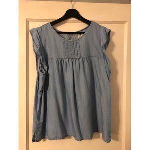 LOFT size XL chambray peasant short sleeve blouse